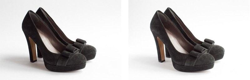 Imagen de producto de zapato negro con y sin luz de relleno