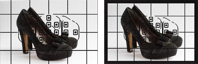 Demostración de cómo encuadrar un producto de calzado en la cámara
