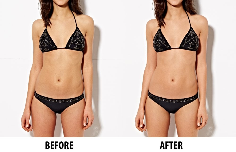 c0aa4ce011a89 Model body in bikini showing best practices for before and after skin  retouching in Photoshop.