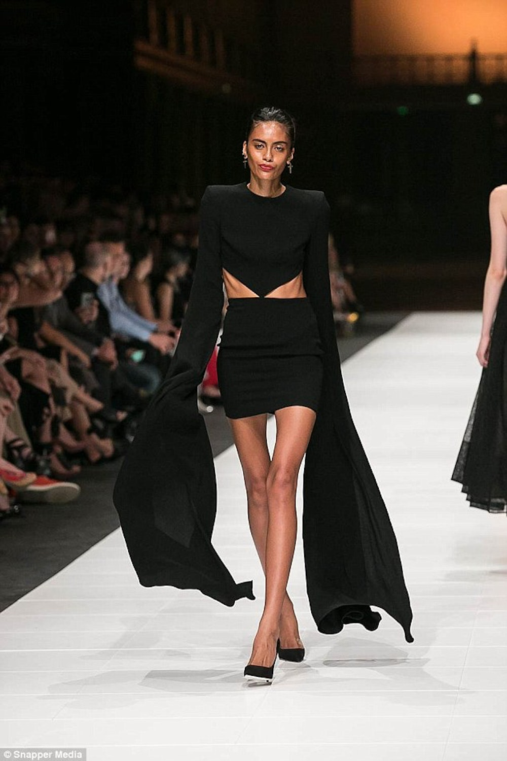 How To Skeletal Model Holly Moore Walks The Runway In Melbourne In A Black  Dress With Ribs Showing